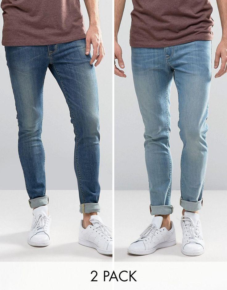 ASOS Super Skinny Jeans 2 Pack In Light & Mid Blue SAVE - Blue