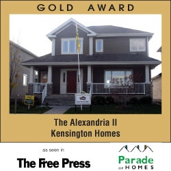 Award Winning Kensington Homes - a top rated new home builder in Winnipeg Manitoba - The Alexandria II - Gold Award