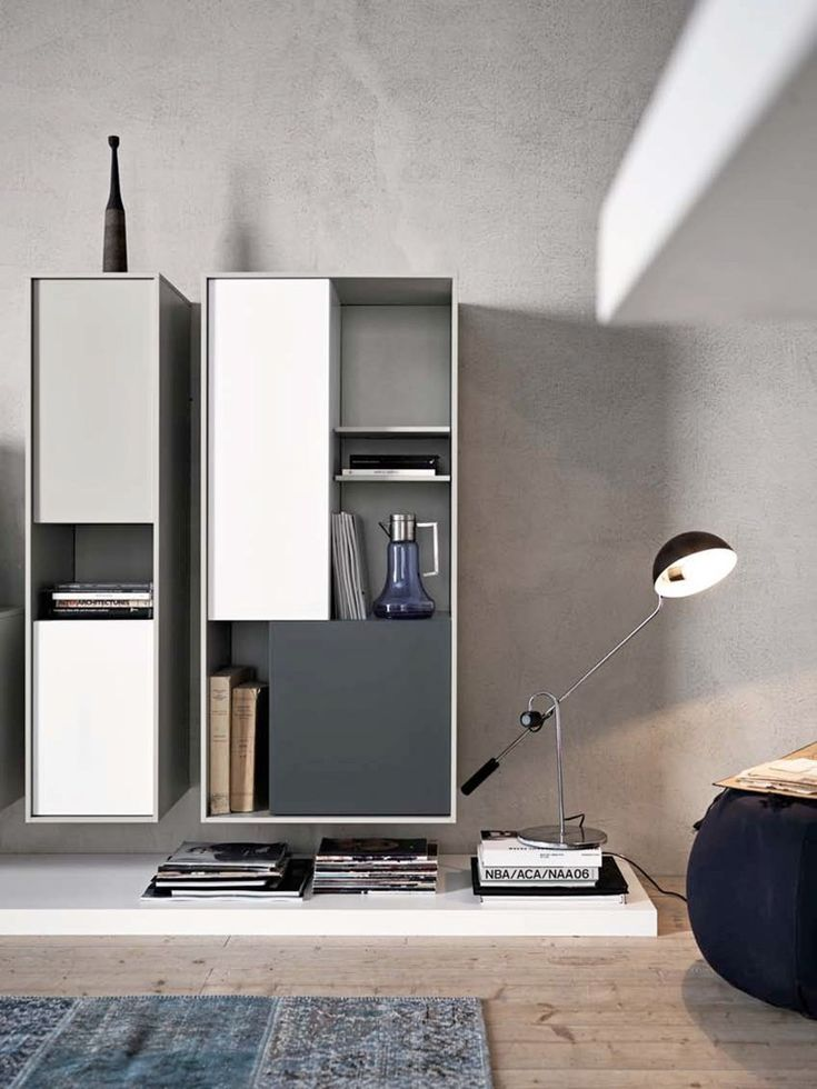 Sectional wall-mounted lacquered storage wall C_DAY K14 by CESAR ARREDAMENTI | #design Gian Vittorio Plazzogna @Cesar Cucine & Living