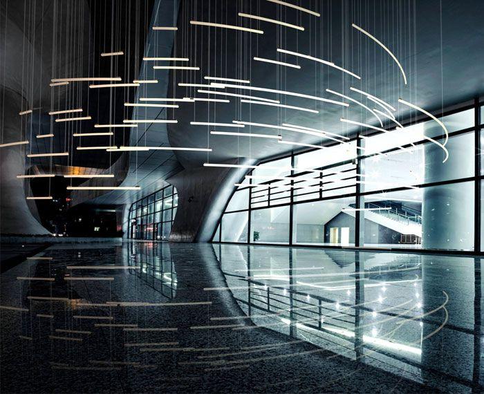 Sculptural Light Installation for Public Areas large building light installation