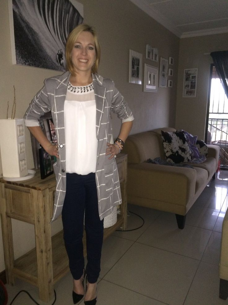 Basics. White embellished top, jeans and long length blazer. Weekend dressed up casual.
