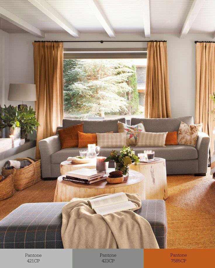 Salón decorado en tonos grises y teja con sofá gris oscuro y mesas de centro en forma de tronco w00412889