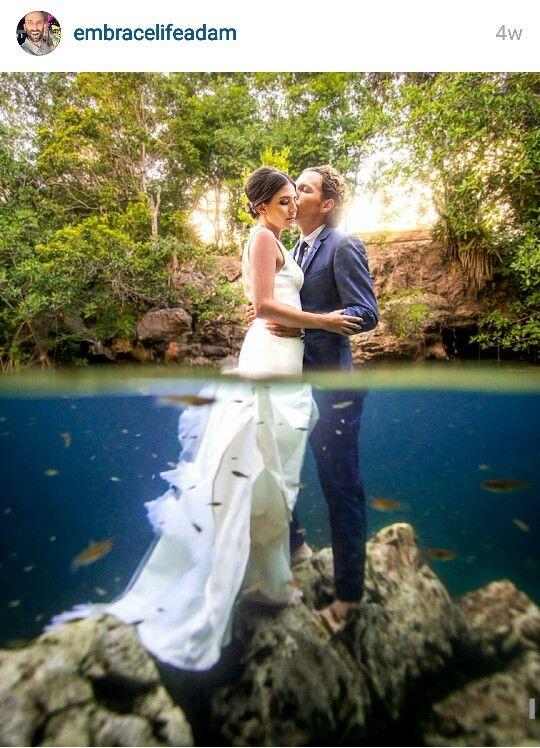 Cancun Beach Wedding trash the dress underwater photo shoot
