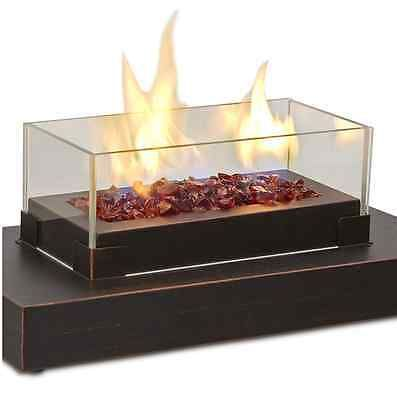Portable Rectangular Tabletop Party Outdoor Patio Propane Fire Bowl Bronze  New