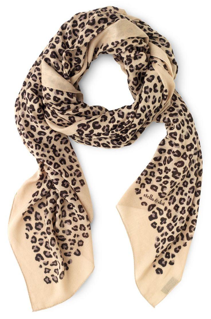 Stella & Dot Leopard Print Bryant Park Scarf - Tan