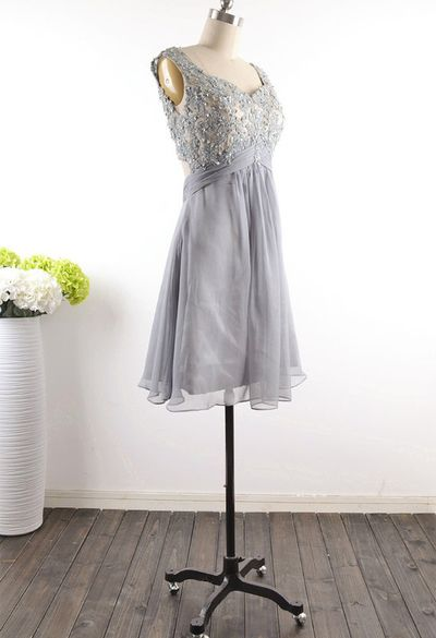 Grey Homecoming Dress,Modest Silver Gray Homecoming Gown,Grey Tulle Homecoming Gowns With Open Back Sequins Party Dress,Backless Sweet 16 Dresses