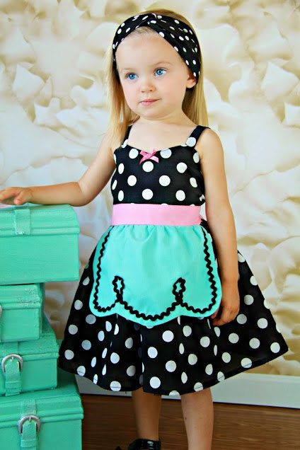 Retro Polka Dot apron dress with Hot Pink trim very ROCKABILLY I Love Lucy girls toddler infant fifties style dress 50s on Etsy, $38.00
