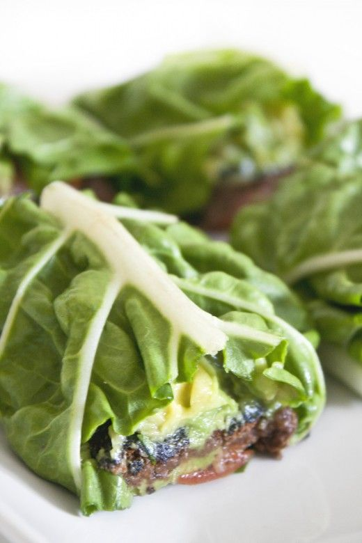 black bean & avocado lettuce wrap. Super healthy and good!