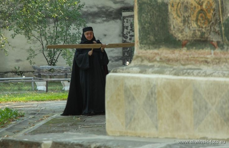 A nun in Voronet monastery, Romania.