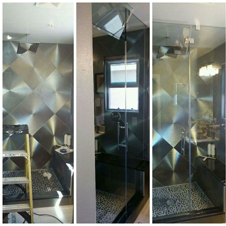 Frameless shower with clear tempered glass and chrome hardware. Shower also has a transom on top of the shower door. This shower is very modern sleek ... & 20 best Before and After Shower Installs images on Pinterest ...