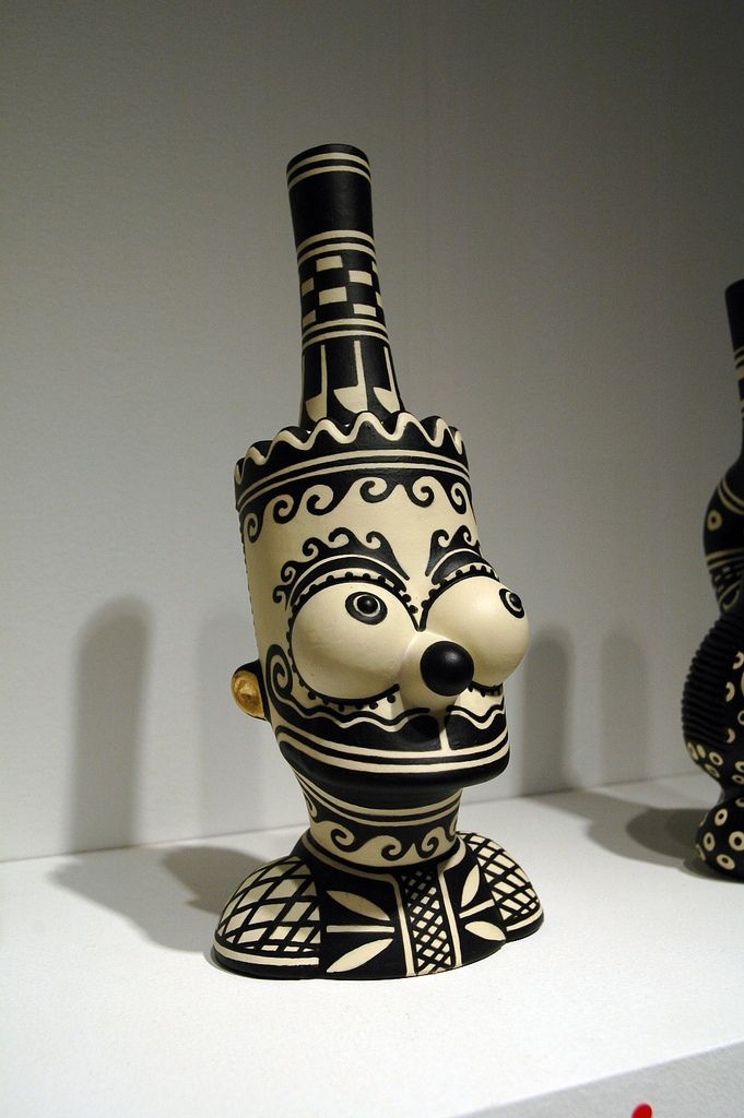 """Diego Romero """"Bart Clobbered by Chongo"""", 2009 ceramic, paint, found objects Represented by CLARK+DELVECCHIO"""
