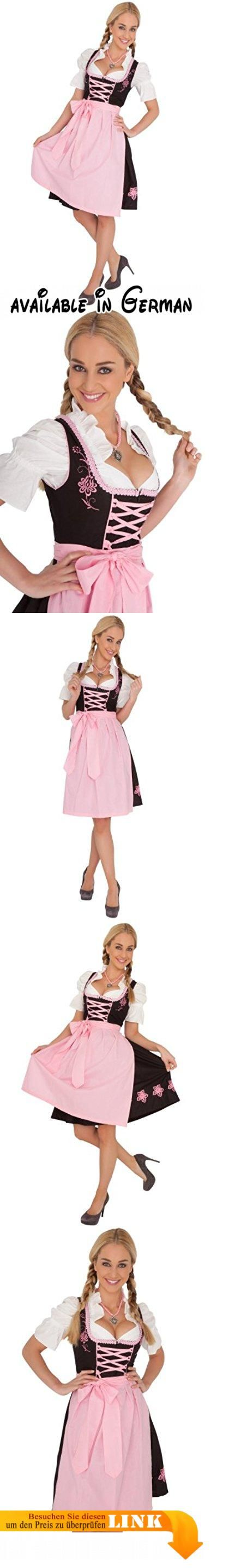 Schwarzes aus Midi Dirndl, Bluse und Schürze Größe 44. / Länge: 100cm. / Bluse: Weiß / Oberteil: Schwarz / Schürze: Rosa / Rock: Schwarz. / Bluse: 100% Baumwolle / Oberteil: 100% Baumwolle / Schürze: 100% Baumwolle / Rock: 100% Baumwolle #Apparel #ADULT_COSTUME