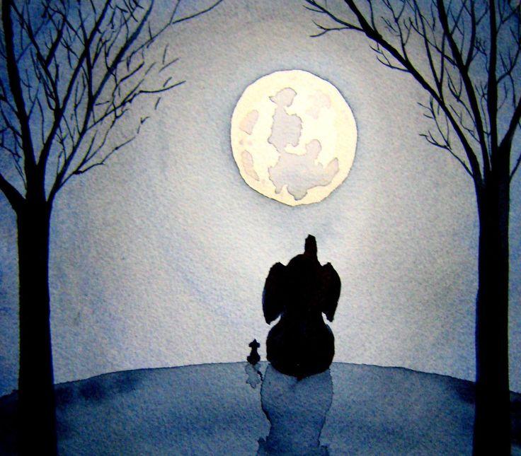 Under The Moonlight - Elephant and mouse silhouette under a full moon - blue nursery art nursery decor