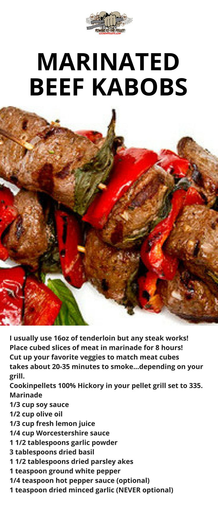 Pellet Grill: Marinated Beef Kabobs. This amazing recipe using our 100% Hickory Cookinpellets makes delicious beef kabobs on your pellet grill. You don't want to miss this pellet grill recipe!  #beef #bbq #grill #pelletgrill #meat
