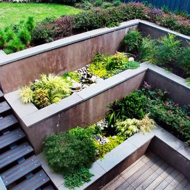 Great idea for below grade patio... Contemporary Landscape by Groundswell Design Group, LLC