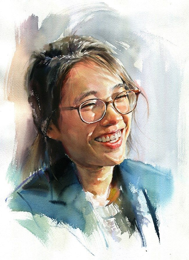 Misulbu, watercolor {contemporary figurative art female head eyeglasses woman face portrait painting #loveart}