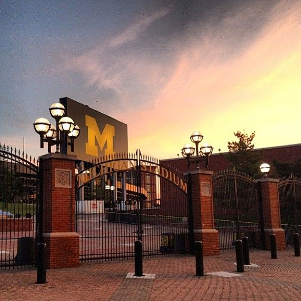 Sunset over the entrance of The Big House. U of M football
