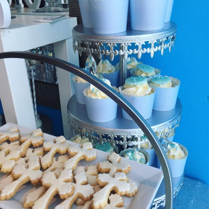 Baby boy baptism sweet candy bar-cupcakes,cake pops, butter cookies....