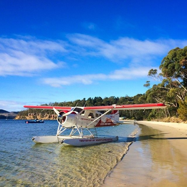 A seaplane stopping off Coningham Beach in  Coningham, Tasmania. #seaplane #flight #tasmania #discovertasmania Image Credit: Paul Fleming