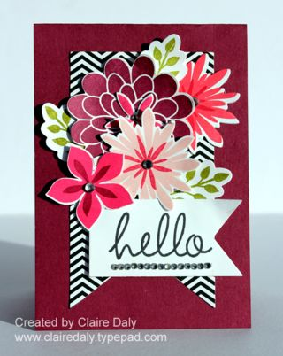 Stampin Up Flower Patch Stamp Set and Flwer Flair Framelits by Claire Daly Stampin Up Demonstrator Melbourne Australia www.clairedaly.typepad.com