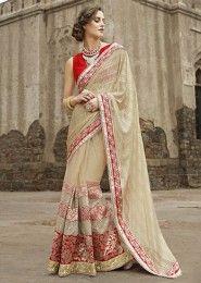 Party Wear Net Beige Embroidered Work Saree