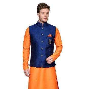 Neon Orange Art Silk Readymade Kurta with Aligarh Pajama cum Nehru Jacket