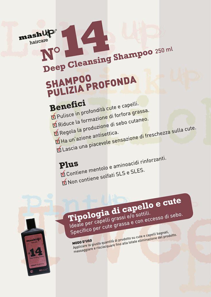 Mashup Haircare N°14 Deep Cleansing Shampoo. Ideale per capelli grassi e/o sottili. Specifico per cute grassa e con eccesso di sebo.