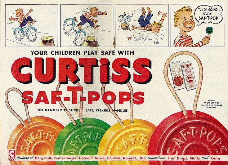 1952 Illustrated Ad, Curtiss Candy, Saf-T-Pops (2-Page Advert)