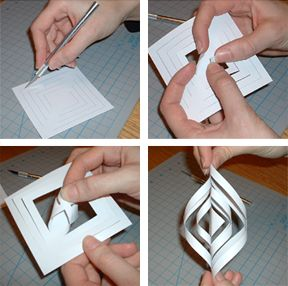 1. Download the large snowflake template or small snowflake template. Print enough pages so you'll have 6 squares (1 or 2 sheets, depending on which template you chose). Cut along the inner lines with an X-acto knife and then cut out the squares.