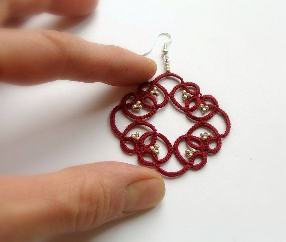 Red lace earrings  tatted lace beaded earrings  by Ilfilochiaro