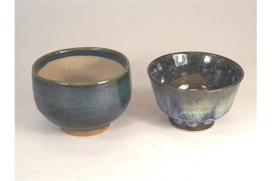 MARGARET TEASDALE. Two, footed tea bowls by Margaret Teasdale. Diameter 10.5cm. Impressed mark.