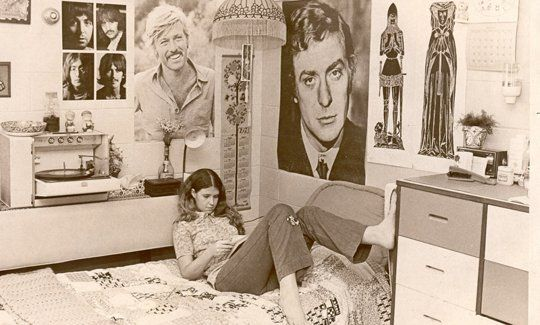 Love this vintage dorm room!  Robert Redford with a mustache and Michael Caine!