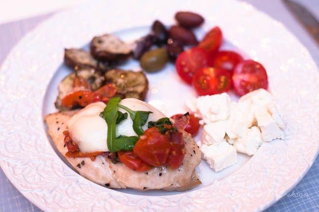 Italiensk fylld kyckling med mozarella och jordärtskockor