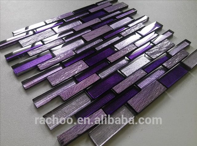 Source Purple Slate Mix Crystal Glass Random Brick Mosaic Kitchen