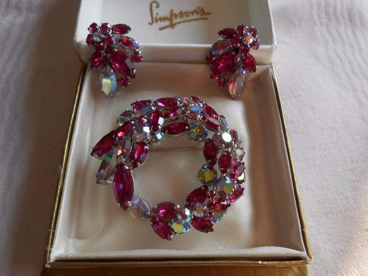 Vintage SHERMAN ~Rare ~ FUCHSIA PINK SWAROVSKI CRYSTAL BROOCH & EARRINGS SET | Jewellery & Watches, Vintage & Antique Jewellery, Costume | eBay!
