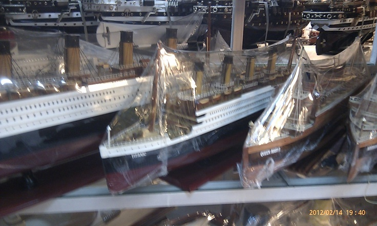 Replicas of the Titantic, complete with lights inside, at 'Minh Hanh' model boat store, Lam Son Square, Ho Chi Minh City.