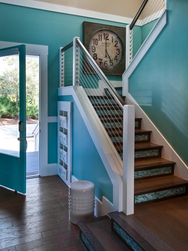 Love love love the glass tile stair risers!