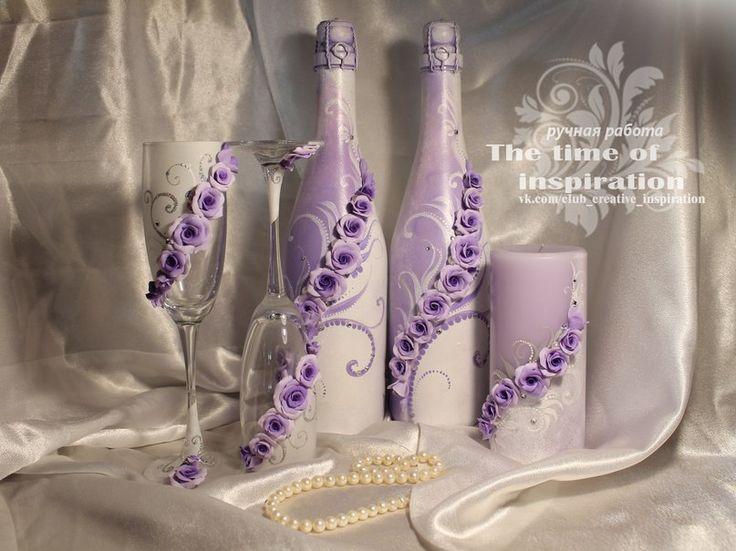 Свадебные аксессуары ручной работы. Декор из полимерной глины с добавлением росписи, страз и бусин.