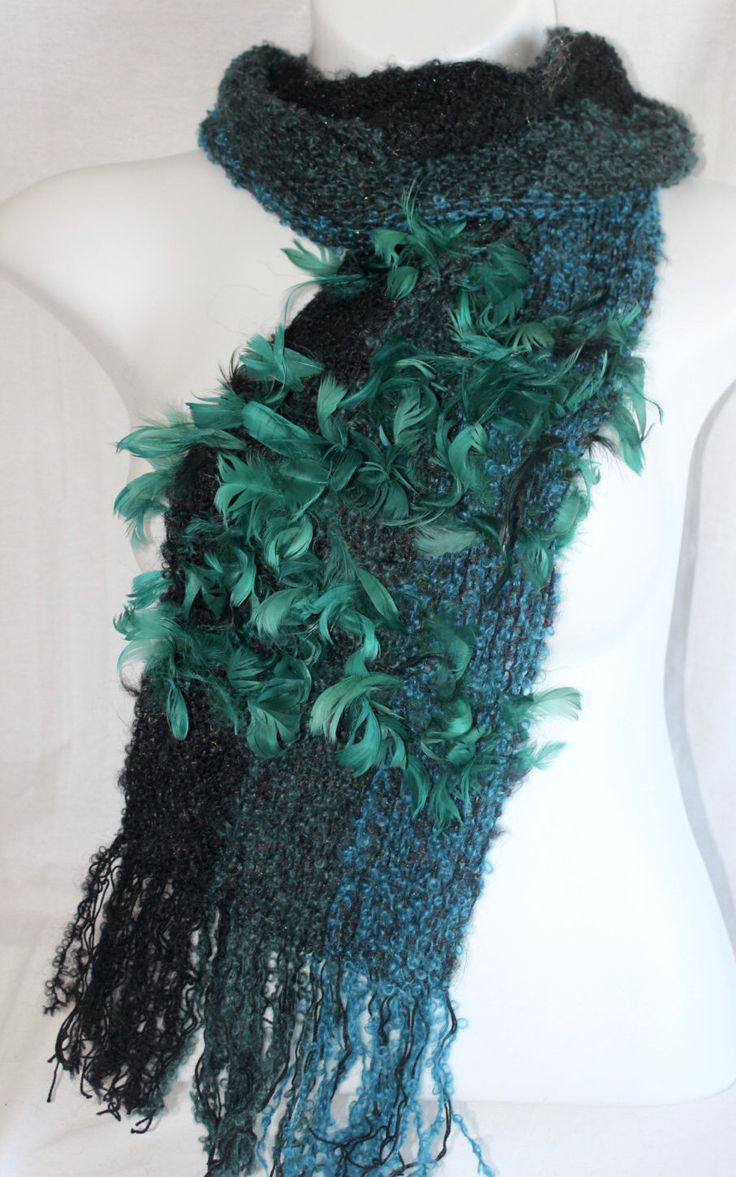 SALE! Handwoven Black Green Teal Scarf | Feather Scarf | Fashion Statement | Soft Scarf | Unique Scarf | One Of A Kind Scarf | Gift For Her by nanettewakestudio on Etsy https://www.etsy.com/listing/294506807/sale-handwoven-black-green-teal-scarf