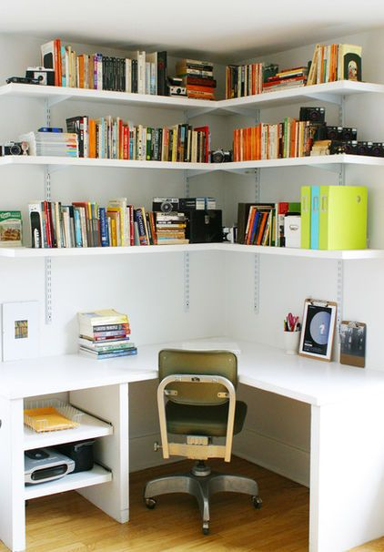 Diy corner desk lobe the shelves reno ideas pinterest wall mounted shelf offices and Corner home office design ideas