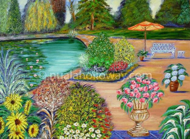 """""""Down By The Lily Pond"""" by Nuala Holloway - Oil on Canvas #LilyPond #OilPainting #IrishArt"""