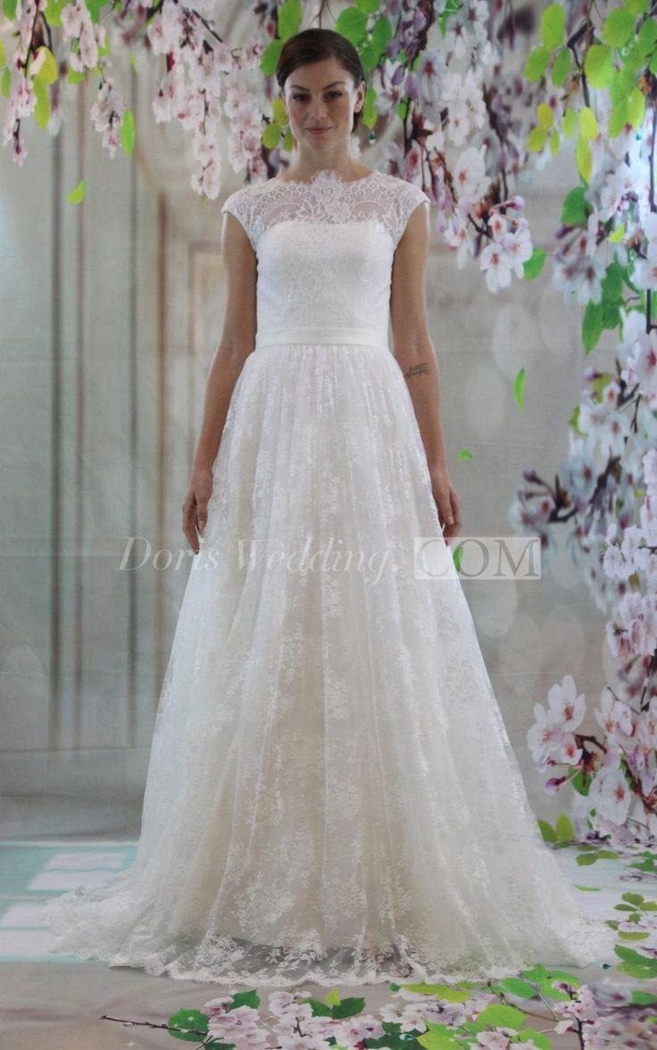 132 best country wedding dresses images on pinterest country lace cap sleeve a line high neck dress with illusion style ombrellifo Images