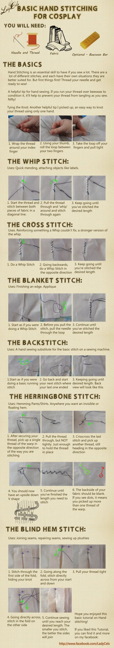 Hand stitching for Cosplay Tutorial by DragonLadyCels; great! I don't know how to sew but this looks easy enough to follow!