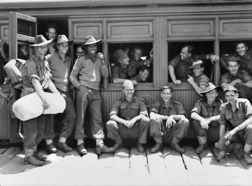 Reg Saunders, the first Aboriginal Australian to become a commissioned officer in the Australian army, photographed with the Australian 2/7th Battalion.