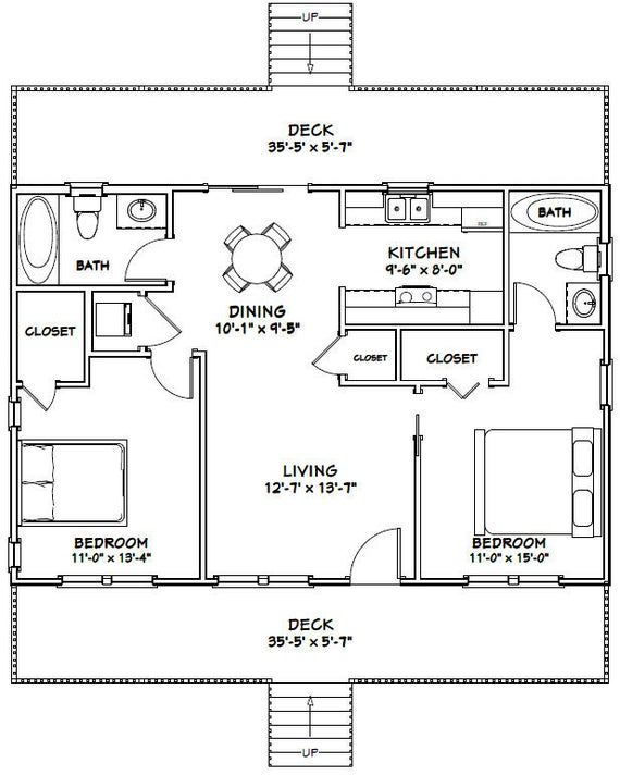 36x24 House 2 Bedroom 2 Bath 864 Sq Ft Pdf Floor Plan Instant Download Model 4a Small House Floor Plans Tiny House Floor Plans Cabin Floor Plans