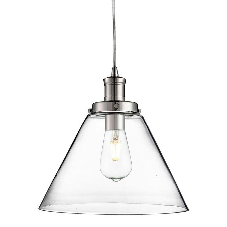 Searchlight PYRAMID 1 LIGHT PENDANT CHROME CLEAR GLASS SHADE 3228CC From Dushka Ltd