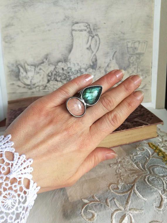 LABRADORITE Ring, Rose Quartz, Quartz Ring, Shine labradorite, Silver tin, Adjustable ring, Vintage ring, bridesmaid gift, wedding gift