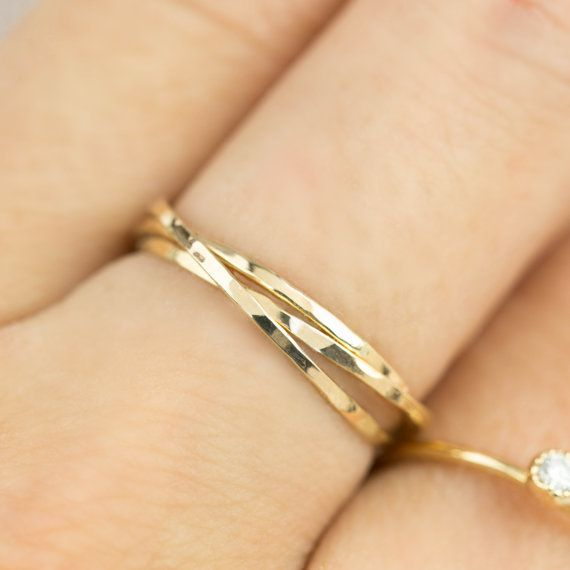 14k 18k gold trinity ring dainty rings three by EnveroJewelry
