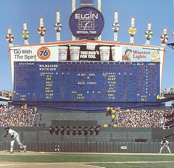 No look at scoreboards would be complete w/o Bill Veeck's famous exploding scoreboard at Comiskey Park.