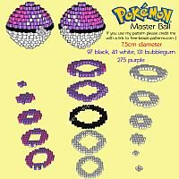 3D Master Ball free Pokemon perler beads melty beads beadsprite pattern